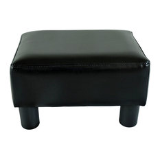 Aosom - HomCom Modern Small Faux Leather Ottoman Footrest Stool, Black - Footstools and Ottomans