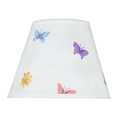 "32417 Hardback Empire Spider Lamp Shade, White/Butterflies/Flowers 5""x9""x7"""