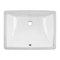 "Undermount 20"" Glazed Porcelain Trough Bathroom Sink, White"