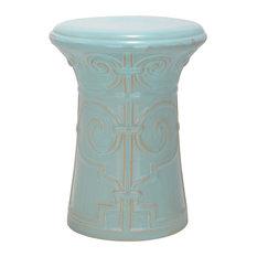 Light Aqua Imperial Scroll Garden Stool ACS4521C