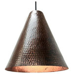 SoLuna Copper - Copper Cone Pendant Light in Rio Grande - Our sophisticated hand hammered Copper Cone Pendant Light by SoLuna adds clean geometry and refined beauty to any space. This unique metal cone pendant light has a lightly hammered interior that reflects light with an inviting glow. Hang one above a cozy reading chair, two in the bedroom over the nightstands or three above a kitchen island. This elegant hand hammered copper pendant light, shown above in our Rio Grande finish, will compliment most any décor. The hanging height of each pendant can be adjusted individually up to 6 ft.
