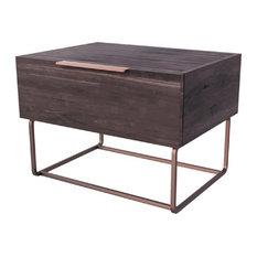 1 Drawer Wooden Nightstand With Rectangular Steel Frame Support Dark Brown