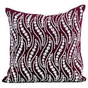 Crystals Bling Purple Pillow Shams, Velvet 60x60 Pillow Sham, Crystal Swirls