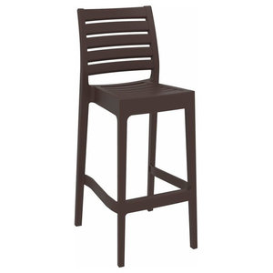 Stacking Tall Bar Stool, Strong Plastic, Backrest, Simple Modern Design, Brown