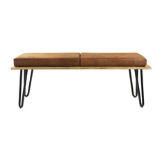 Upholstered Long Bench, Brown