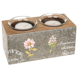French Carte Postale Shabby Chic Double Tealight Candle Holder, Grey/Brown