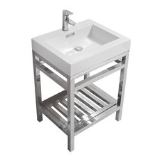 Cisco Stainless Steel Console With Acrylic Sink Chrome 24-inch