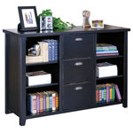 Martin Furniture - Martin Furniture Tribeca Loft Black 3-Drawer File Cabinet and Bookcase - The Tribeca Cabinet is a versatile, multifunctional piece that adds order and style to your design. Three legal-sized file drawers are perfect for paperwork, media accessories and other belongings, while exposed adjustable shelving provides a place to display decorative accents and books. Cup drawer pulls and distressed edges add a touch of hardworking appeal to its look.