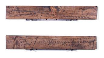 "5.25"" Deep Rugged Distressed Pine Floating Shelves 36"", Set of 2, Bourbon"