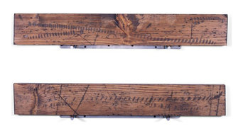 "5.25"" Deep Rugged Distressed Pine Floating Shelves 36"", Set of 2, Bourbon"