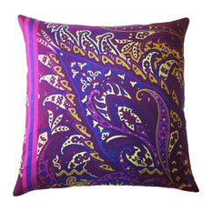 Fiore Exploded Vintage Silk Print Paisley Pillow, Eggplant