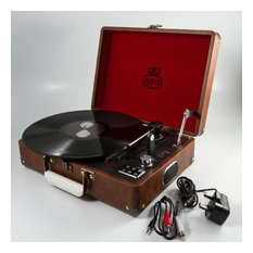 England At Home Attache Record Player - Brown