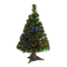 """24"""" Fiber Optic Ice Tree With Green Base-Battery Operated, Timer"""