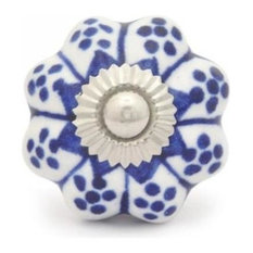 Ceramic Knobs, Blue With White Base, Set of 3