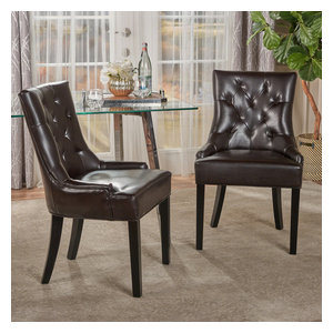 GDF Studio Stacy Leather Dining and Accent Chairs, Set of 2