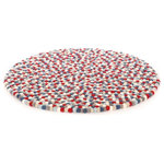 Happy as Larry - Happy as Larry Firecracker Felt Ball Rug - Bring the imagination home with the Firecracker. The Firecracker felt ball rug includes navy, red and white and is made especially for Larry. Each ball is hand felted and lovingly stitched together, not glued. They feel lovely underfoot and can be used on both sides. Children spend most of their time on the floor. It's where they play, imagine and see the world. Snuggle up with a book and together create a lifetime of memories.