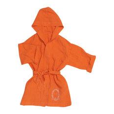 Linen Hooded Kimono Robe, Terracotta