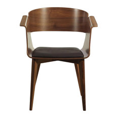 Swing Modern Dining Chair, Walnut With Faux Leather