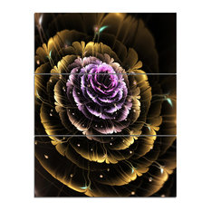 """""""Perfect Fractal Flower in Gold and Purple"""" Wall Art, 3 Panels, 28""""x36"""""""
