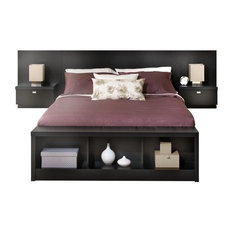 Bowery Hill   Bowery Hill King Platform Storage Bed With Floating Headboard  In Black   Bedroom