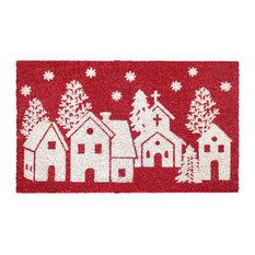 "RugSmith White Machine Tufted Winter Homes Doormat, 18"" x 30"""