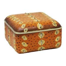 """Sagebrook Home Orange Sturgeon Skin Box 8.25"""""""