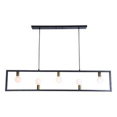 Renwil LPC4067 Five Light Ceiling Fixture Vera Matte Black/Polished Brass