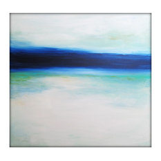 Large Abstract Painting on Canvas Modern Acrylic Skyline- 40x40- Blues, White