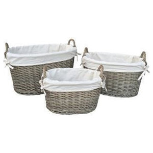 White Lined Antique Wash Oval Wicker Storage Basket, Large