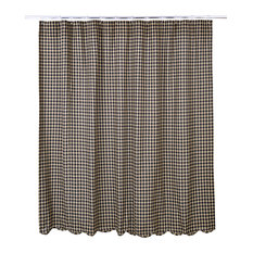 Check Black Scalloped Shower Curtain