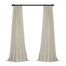 "Mist Gray Vintage Textured Faux Dupioni Silk Curtain Single Panel, 50""x 96"""