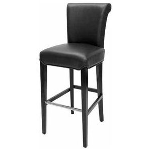 Rollback Leather Stool With Metal Footrest, Black Leather