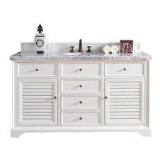 "Savannah 60"" Cottage White Single Vanity 4CM Carrara White Marble Top"