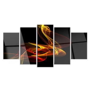 Large: 60 in Designart TAP14161-60-50 Red Yellow Twisted Waves Fractal Abstract Tapestry Blanket D/écor Wall Art for Home and Office Created on Lightweight Polyester Fabric x 50 in