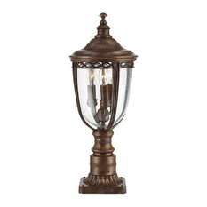English Bridle 3-Light Pedestal Path Light, British Bronze, Small