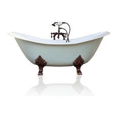 Green Blue Antique Style Cast Iron Porcelain Double Clawfoot Bathtub 6' Set