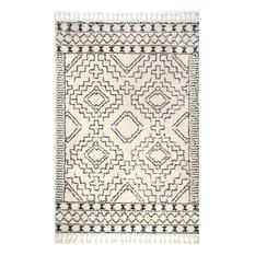 "Transitional Moroccan Tribal Cross Chevron Tassel Area Rug, Off White, 6'7""x9'"