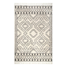 Nuloom Moroccan Shag Tribal Chevron Tel Area Rug Off White 5