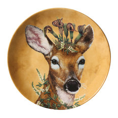 """PAPERPRODUCTS DESIGN - Woodsy and Wise Animal Plates - 7"""" Diameter - Bone China - Set of 4 - Decorative Plates"""