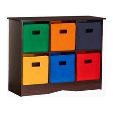 RiverRidge Home Kids 6-Bin Storage Cabinet, Espresso/Primary