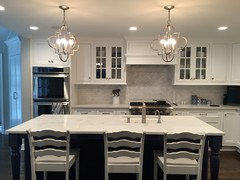 Hale Navy Or Warm Grey Island With White Kitchen Cabinets