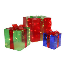 3-Piece Lighted Red Green and Blue Gift Box Presents Christmas Decoration Set