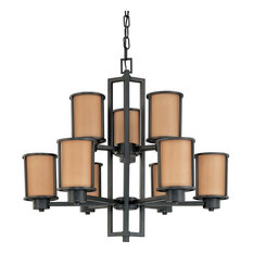 Nuvo Lighting Odeon ES 9 Light Chandelier with Parchment Glass