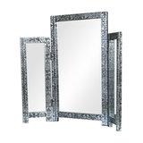 Silver Embossed Table Top Triple Vanity Mirror