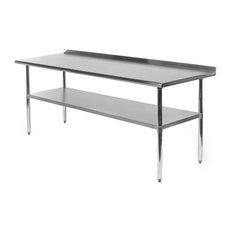 Stainless Steel 72 X 24 Inch NSF Certified Kitchen Prep Table W/ Backsplash
