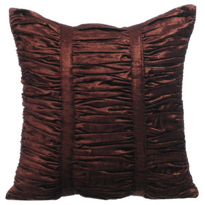 Textured Pintucks 35x35 Velvet Cushion Covers, Chocolate Brown Beauty