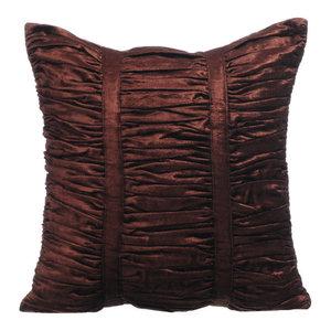 Textured Pintucks 55x55 Velvet Cushion Covers, Chocolate Brown Beauty