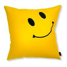 - スマイリー刺繍の幸せ黄色クッションカバー - クッション