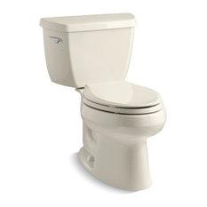 Kohler Wellworth 2-Piece Elongated 1.28 GPF Toilet w/ Left-Hand Lever, Almond