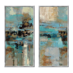 Framed 2 Piece hand Painted Abstract Wall Decor